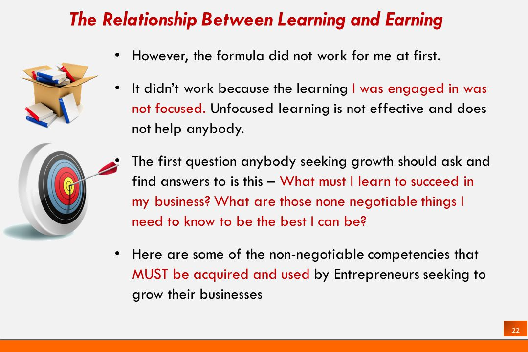 22 The Relationship Between Learning and Earning However, the formula did not work for me at first.