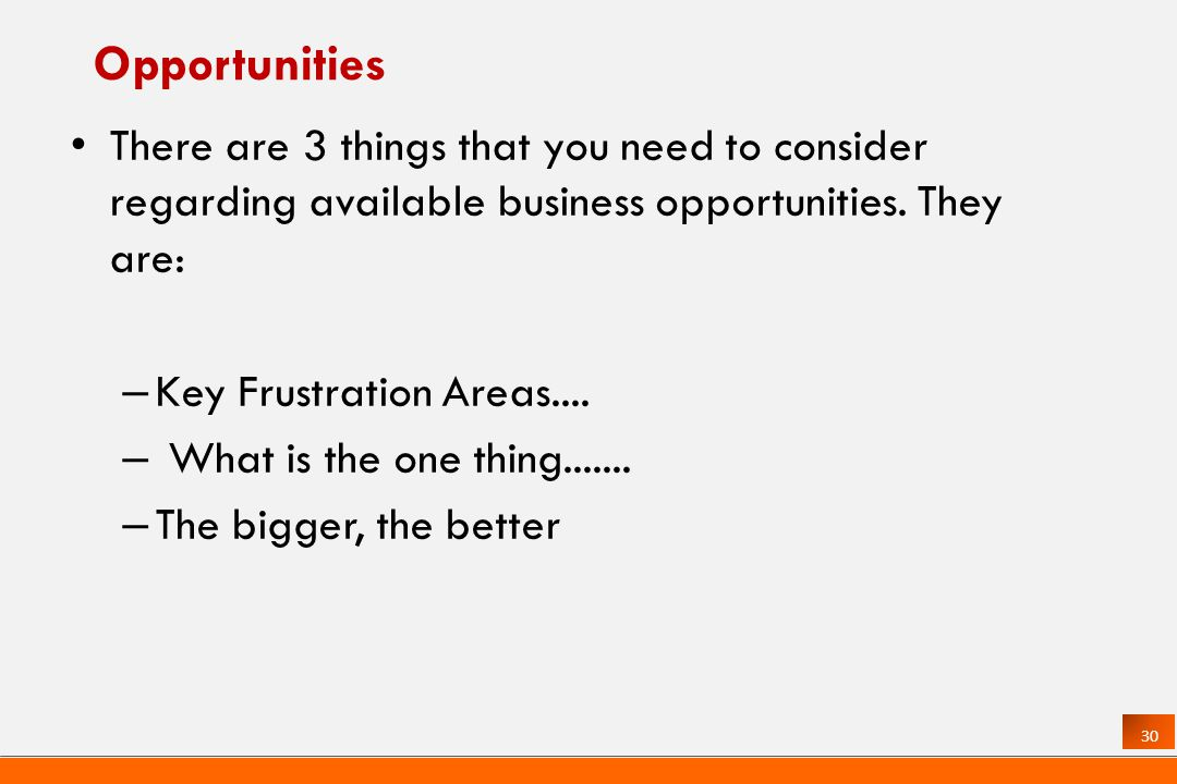 30 Opportunities There are 3 things that you need to consider regarding available business opportunities.
