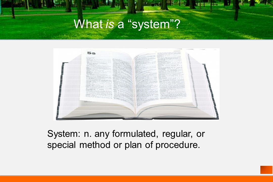 System: n. any formulated, regular, or special method or plan of procedure. What is a system?