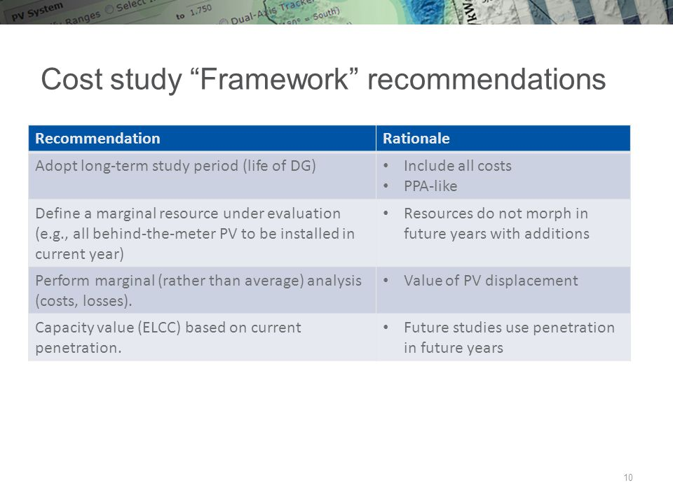 Cost study Framework recommendations 10 RecommendationRationale Adopt long-term study period (life of DG) Include all costs PPA-like Define a marginal resource under evaluation (e.g., all behind-the-meter PV to be installed in current year) Resources do not morph in future years with additions Perform marginal (rather than average) analysis (costs, losses).