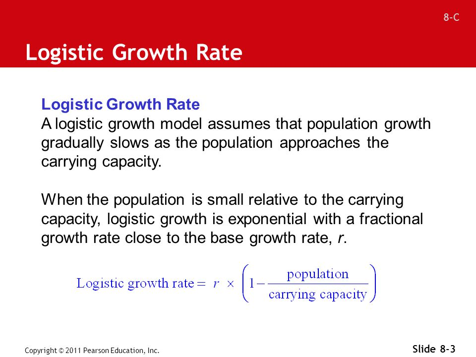 8-C Copyright © 2011 Pearson Education, Inc. Slide 8-3 Logistic Growth Rate A logistic growth model assumes that population growth gradually slows as
