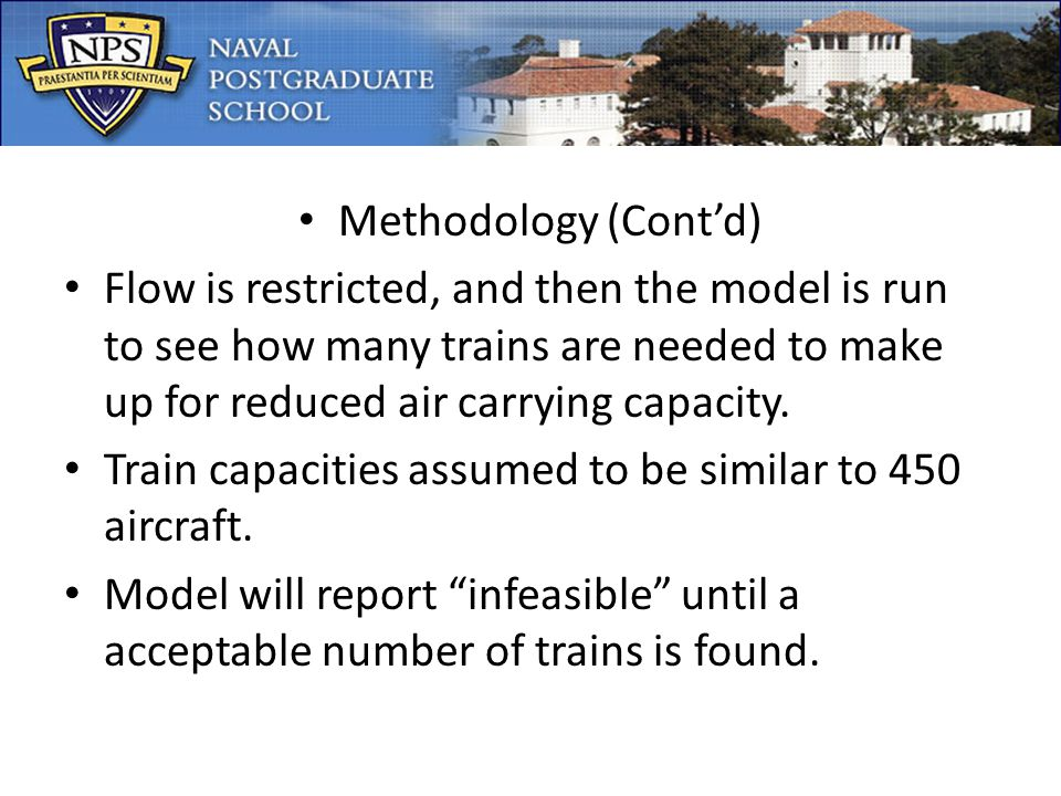 Methodology (Contd) Flow is restricted, and then the model is run to see how many trains are needed to make up for reduced air carrying capacity.