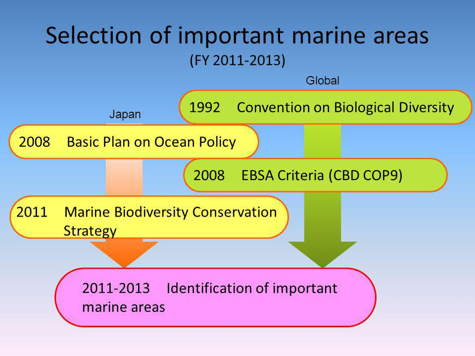 Selection of important marine areas (FY 2011-2013) 2011-2014 Identification of Marine Area of Particular Importance 1992 Convention on Biological Dive
