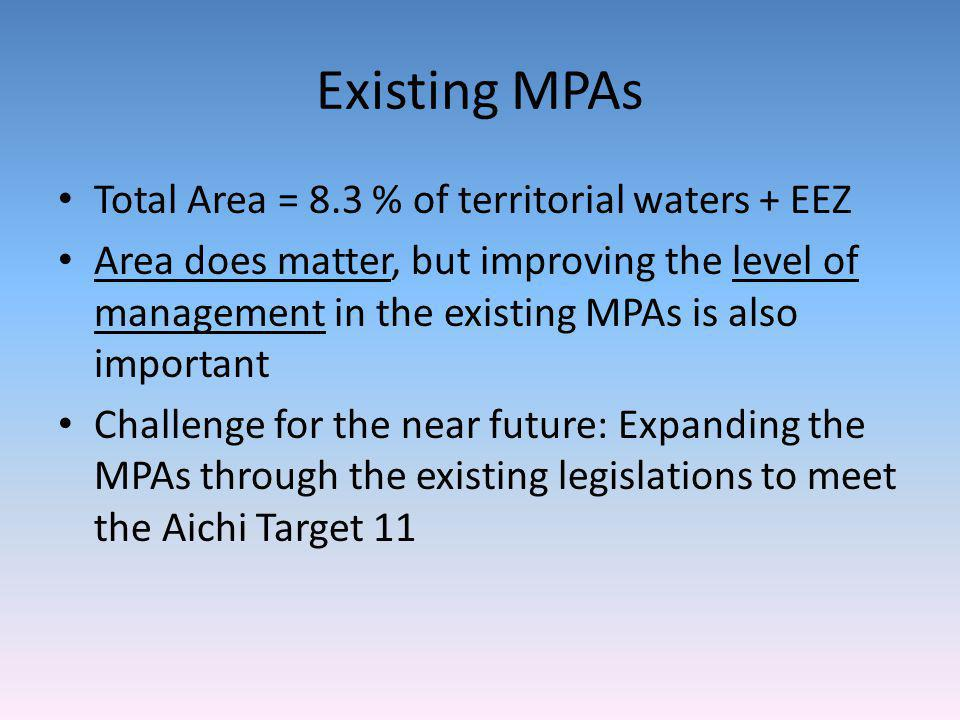Existing MPAs Total Area = 8.3 % of territorial waters + EEZ Area does matter, but improving the level of management in the existing MPAs is also impo