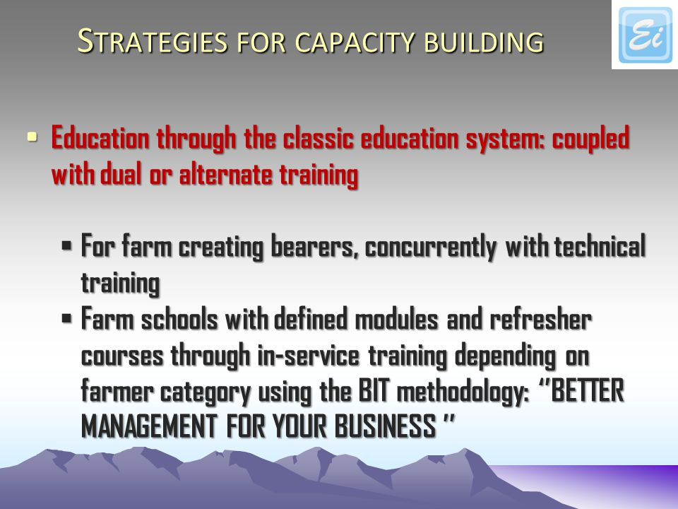 S TRATEGIES FOR CAPACITY BUILDING Education through the classic education system: coupled with dual or alternate training Education through the classic education system: coupled with dual or alternate training For farm creating bearers, concurrently with technical training For farm creating bearers, concurrently with technical training Farm schools with defined modules and refresher courses through in-service training depending on farmer category using the BIT methodology: BETTER MANAGEMENT FOR YOUR BUSINESS Farm schools with defined modules and refresher courses through in-service training depending on farmer category using the BIT methodology: BETTER MANAGEMENT FOR YOUR BUSINESS