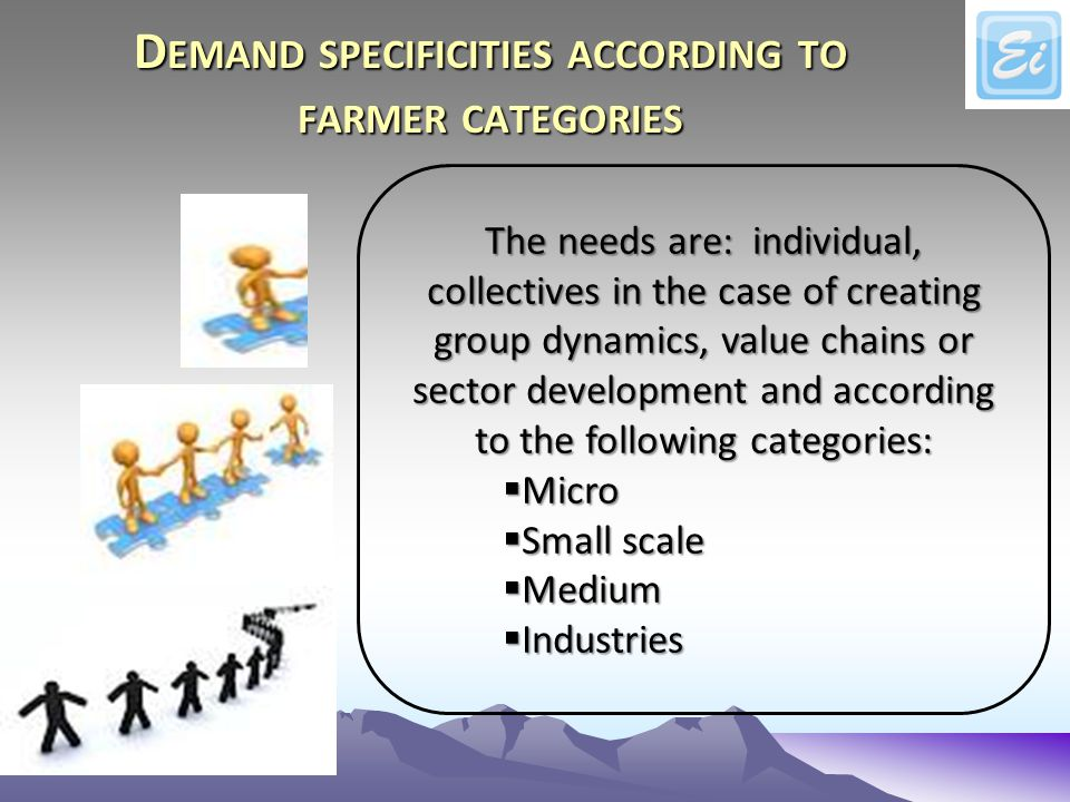 D EMAND SPECIFICITIES ACCORDING TO FARMER CATEGORIES The needs are: individual, collectives in the case of creating group dynamics, value chains or sector development and according to the following categories: Micro Micro Small scale Small scale Medium Medium Industries Industries
