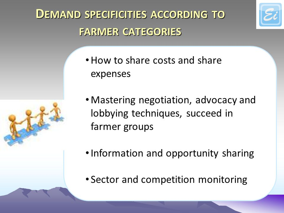 D EMAND SPECIFICITIES ACCORDING TO FARMER CATEGORIES How to share costs and share expenses Mastering negotiation, advocacy and lobbying techniques, succeed in farmer groups Information and opportunity sharing Sector and competition monitoring