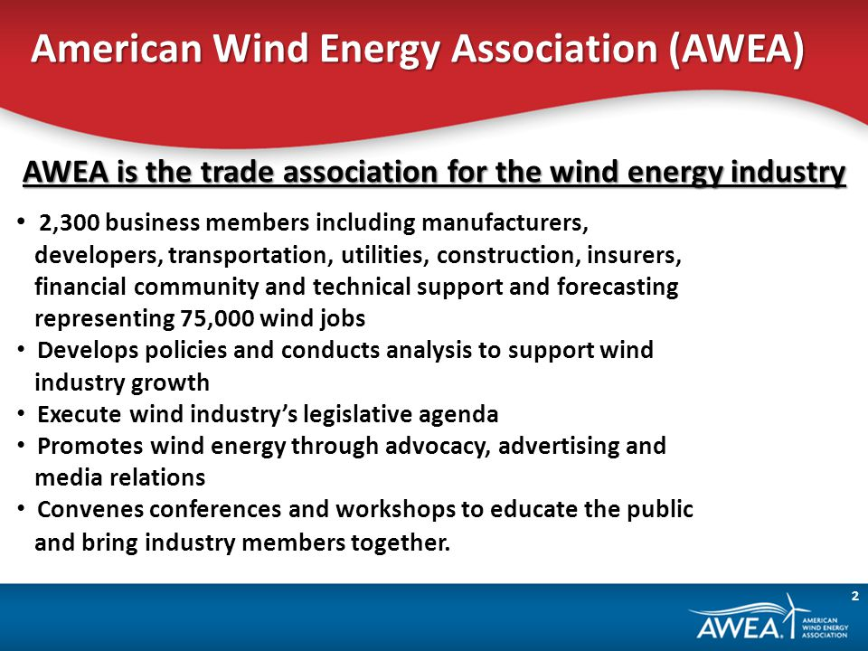 American Wind Energy Association (AWEA) AWEA is the trade association for the wind energy industry 2,300 business members including manufacturers, developers, transportation, utilities, construction, insurers, financial community and technical support and forecasting representing 75,000 wind jobs Develops policies and conducts analysis to support wind industry growth Execute wind industrys legislative agenda Promotes wind energy through advocacy, advertising and media relations Convenes conferences and workshops to educate the public and bring industry members together.