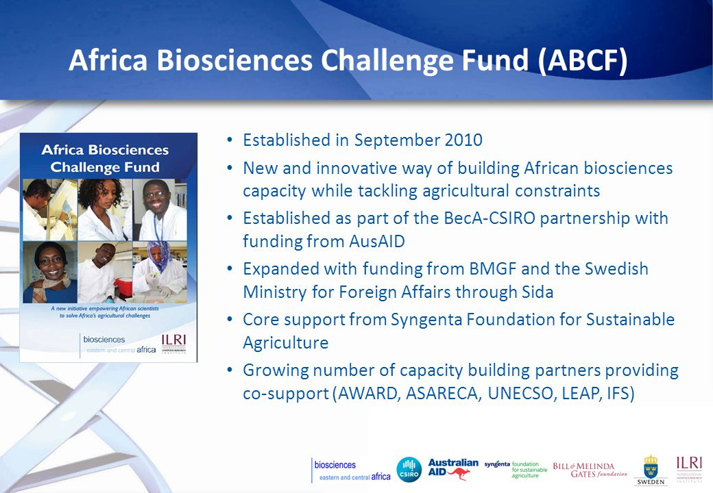 Africa Biosciences Challenge Fund (ABCF) Established in September 2010 New and innovative way of building African biosciences capacity while tackling agricultural constraints Established as part of the BecA-CSIRO partnership with funding from AusAID Expanded with funding from BMGF and the Swedish Ministry for Foreign Affairs through Sida Core support from Syngenta Foundation for Sustainable Agriculture Growing number of capacity building partners providing co-support (AWARD, ASARECA, UNECSO, LEAP, IFS)