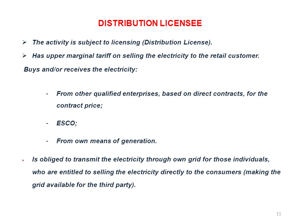 DISTRIBUTION LICENSEE The activity is subject to licensing (Distribution License).