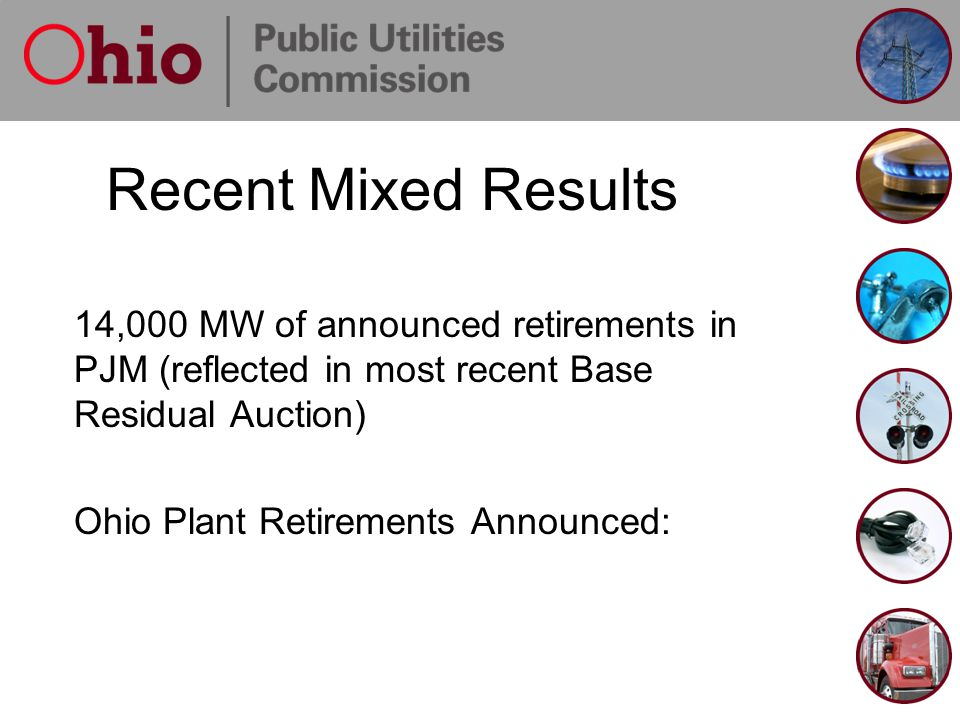 Recent Mixed Results 14,000 MW of announced retirements in PJM (reflected in most recent Base Residual Auction) Ohio Plant Retirements Announced:
