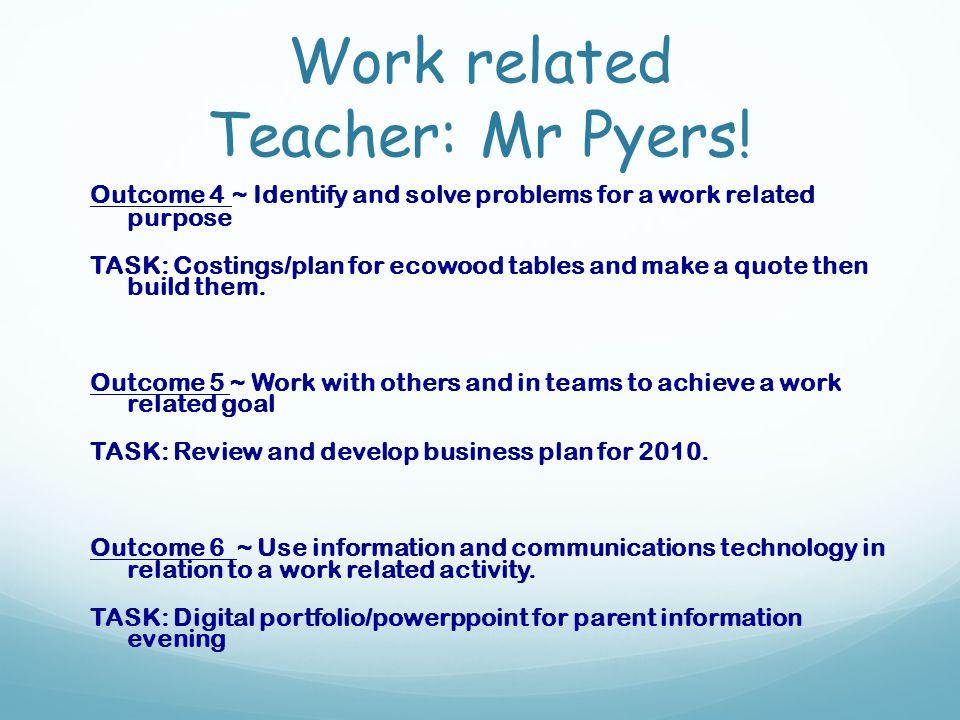 Work related Teacher: Mr Pyers.