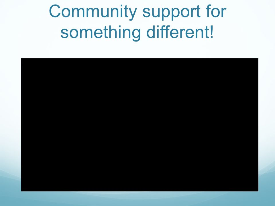 Community support for something different!