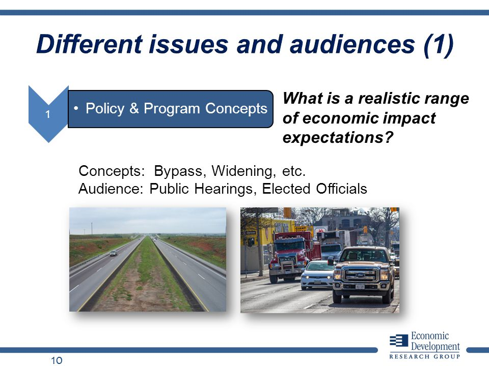 Different issues and audiences (1) 10 What is a realistic range of economic impact expectations? Concepts: Bypass, Widening, etc. Audience: Public Hea