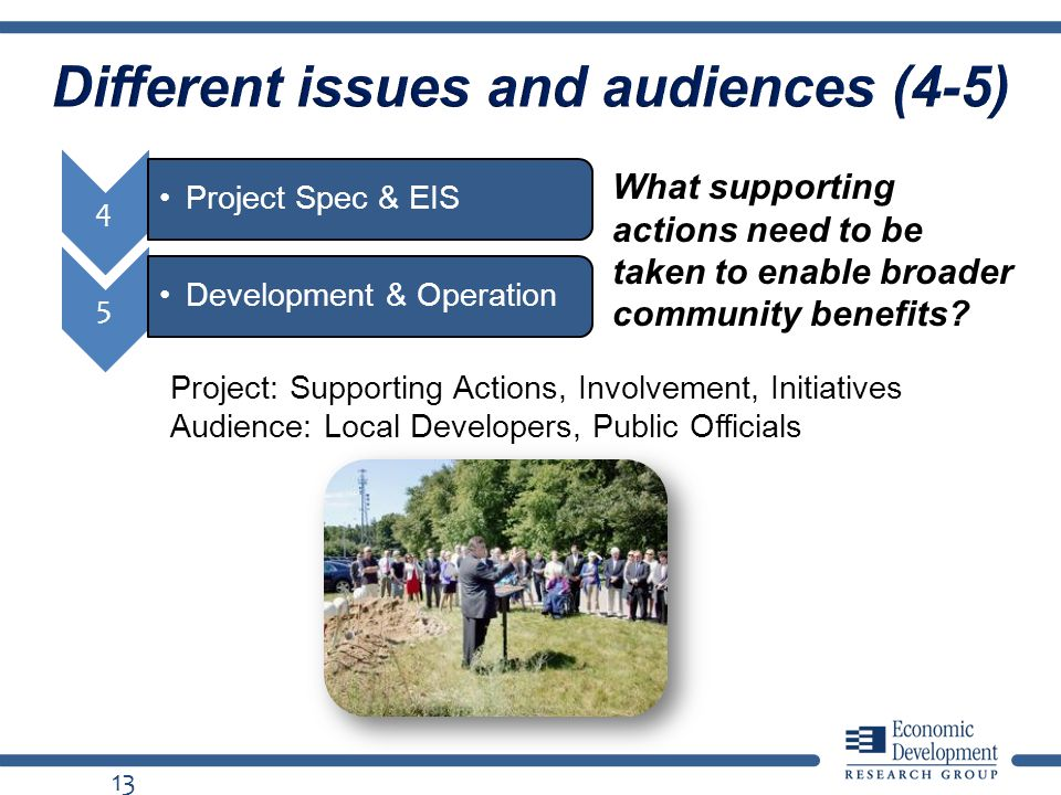 Different issues and audiences (4-5) 13 What supporting actions need to be taken to enable broader community benefits.