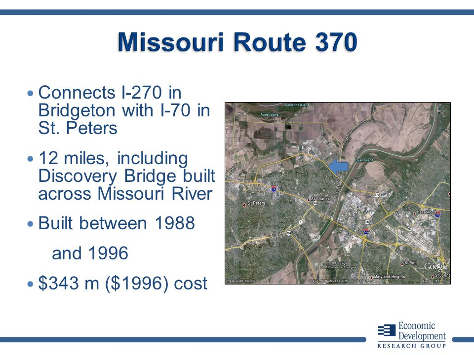 Connects I-270 in Bridgeton with I-70 in St. Peters 12 miles, including Discovery Bridge built across Missouri River Built between 1988 and 1996 $343