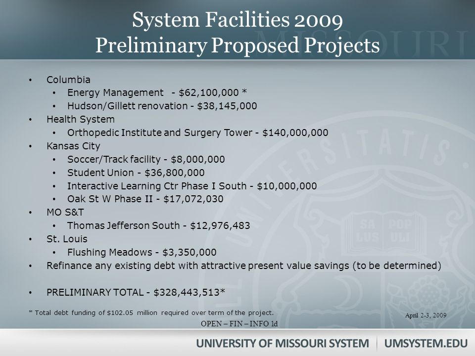 April 2-3, 2009 OPEN – FIN – INFO 1 System Facilities 2009 Preliminary Proposed Projects Columbia Energy Management- $62,100,000 * Hudson/Gillett renovation - $38,145,000 Health System Orthopedic Institute and Surgery Tower - $140,000,000 Kansas City Soccer/Track facility - $8,000,000 Student Union - $36,800,000 Interactive Learning Ctr Phase I South - $10,000,000 Oak St W Phase II - $17,072,030 MO S&T Thomas Jefferson South - $12,976,483 St.