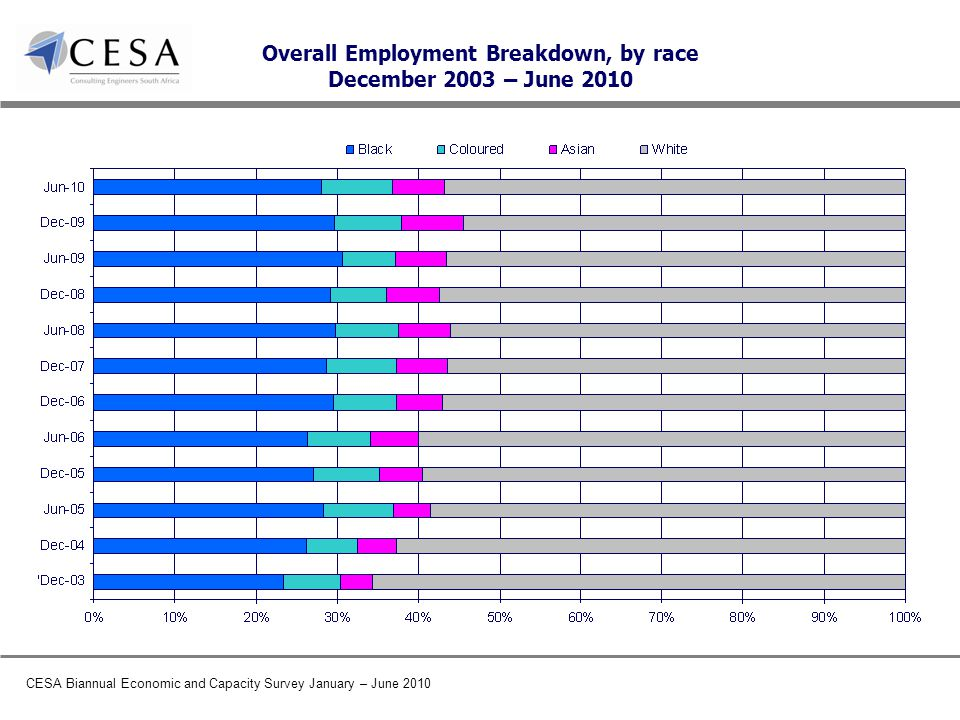CESA Biannual Economic and Capacity Survey January – June 2010 Overall Employment Breakdown, by race December 2003 – June 2010