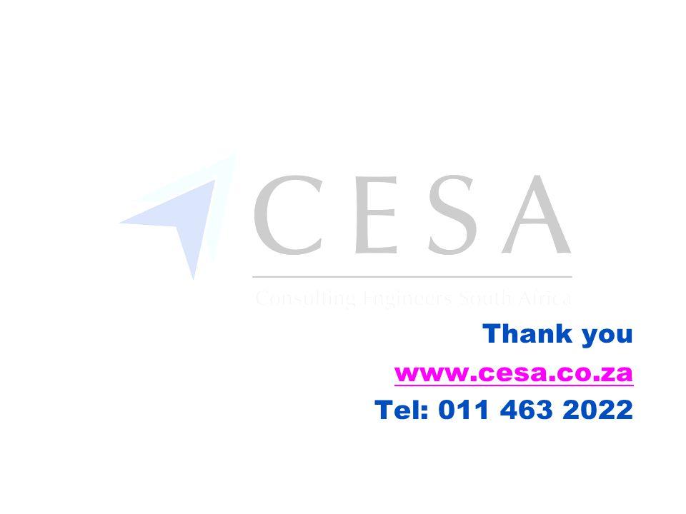 Thank you www.cesa.co.za Tel: 011 463 2022
