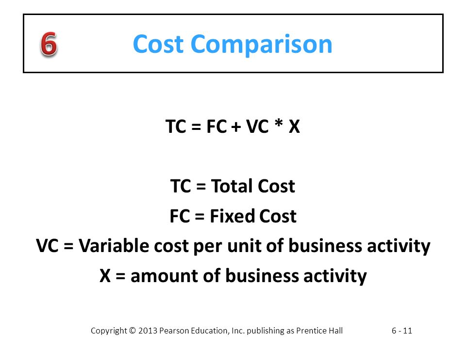 Copyright © 2013 Pearson Education, Inc. publishing as Prentice Hall6 - 11 Cost Comparison TC = FC + VC * X TC = Total Cost FC = Fixed Cost VC = Varia