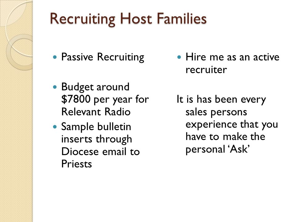 Recruiting Host Families Passive Recruiting Budget around $7800 per year for Relevant Radio Sample bulletin inserts through Diocese email to Priests H