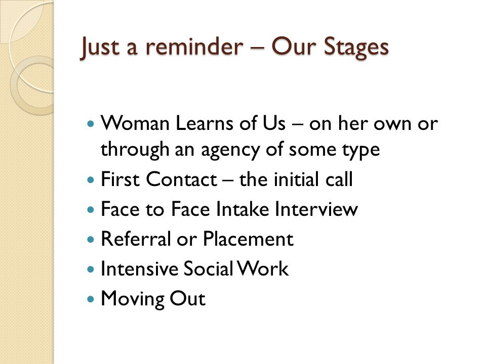 Just a reminder – Our Stages Woman Learns of Us – on her own or through an agency of some type First Contact – the initial call Face to Face Intake In