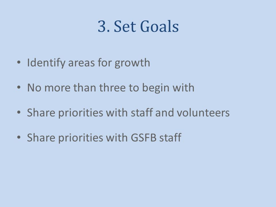 3. Set Goals Identify areas for growth No more than three to begin with Share priorities with staff and volunteers Share priorities with GSFB staff
