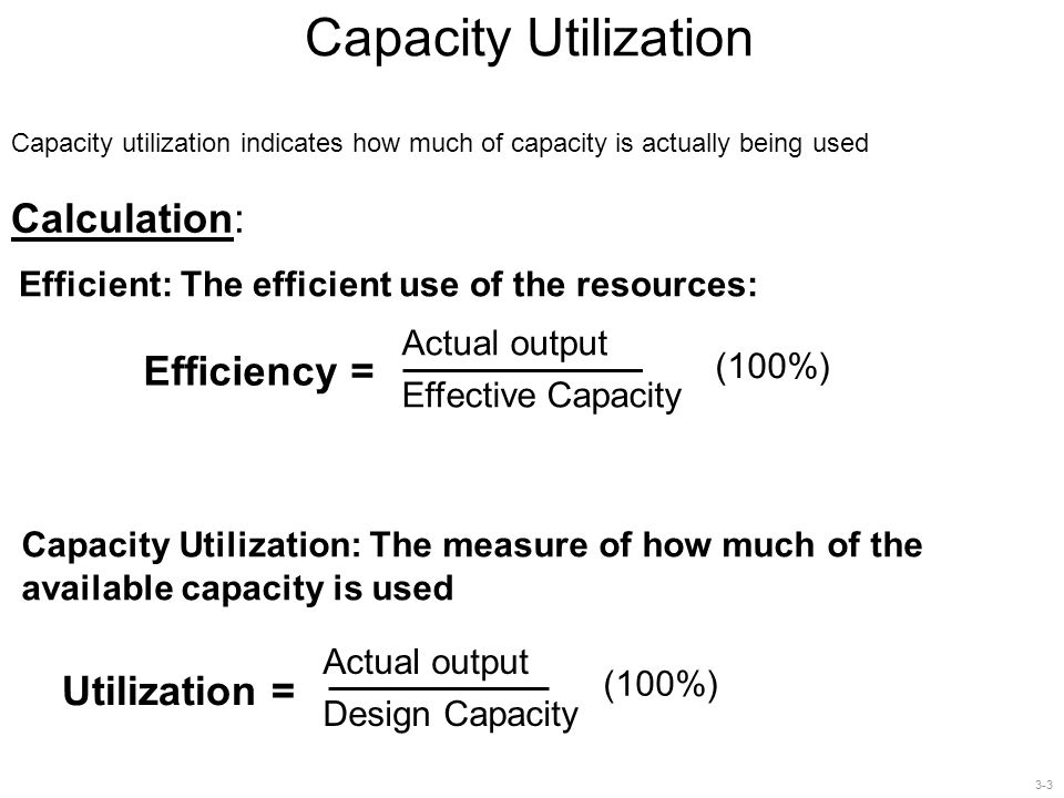 3-4 Capacity Utilization Example 2 Example 2 A factory produces the following 3 types of computers with the following assembling times: (α) laptop: 4 min, (b) netbook: 3 min, and (c) tablet PC: 5 min.