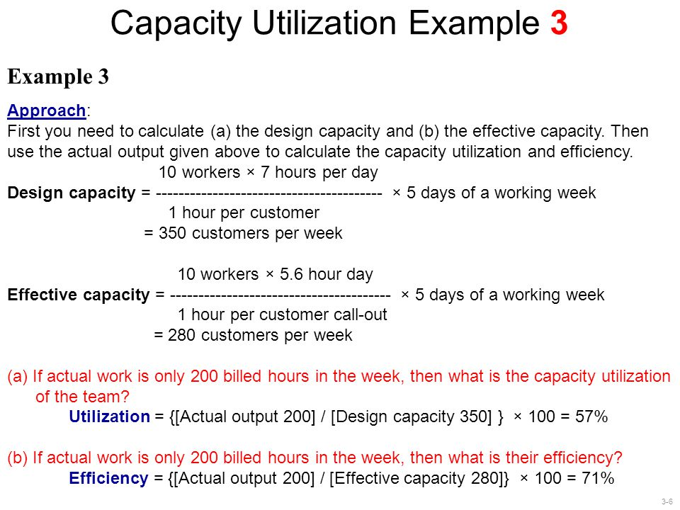 3-6 Capacity Utilization Example 3 Example 3 Approach: First you need to calculate (a) the design capacity and (b) the effective capacity. Then use th