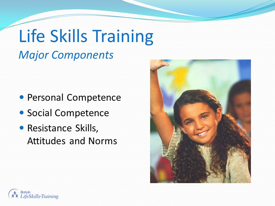 Life Skills Training Major Components Personal Competence Social Competence Resistance Skills, Attitudes and Norms