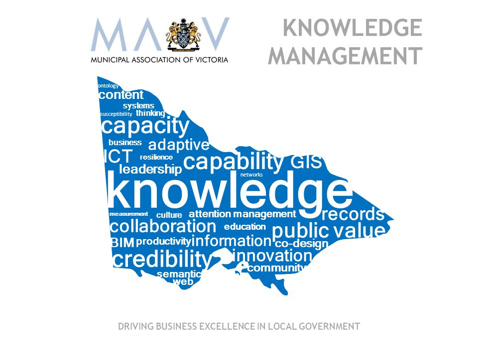 knowledge information public value capability capacity BIM co-design content credibility susceptibility leadership innovation community records attention management ICT collaboration GIS business adaptive resilience productivity culture systems thinking measurement education semantic web ontology networks KNOWLEDGE MANAGEMENT DRIVING BUSINESS EXCELLENCE IN LOCAL GOVERNMENT