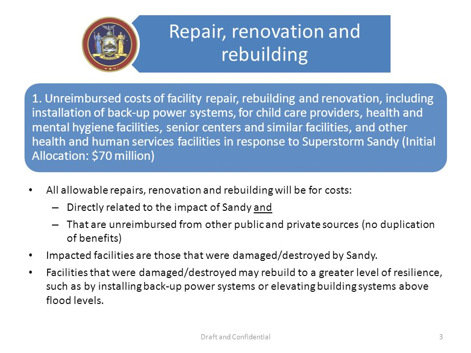 Repair, renovation and rebuilding 1.