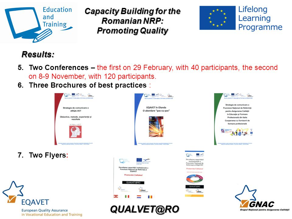 QUALVET@RO Capacity Building for the Romanian NRP: Promoting Quality 5.Two Conferences – the first on 29 February, with 40 participants, the second on 8-9 November, with 120 participants.