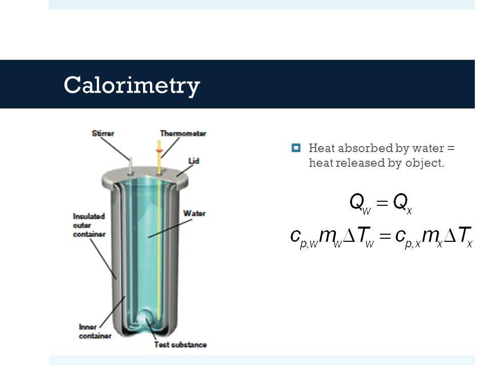 Calorimetry Heat absorbed by water = heat released by object.