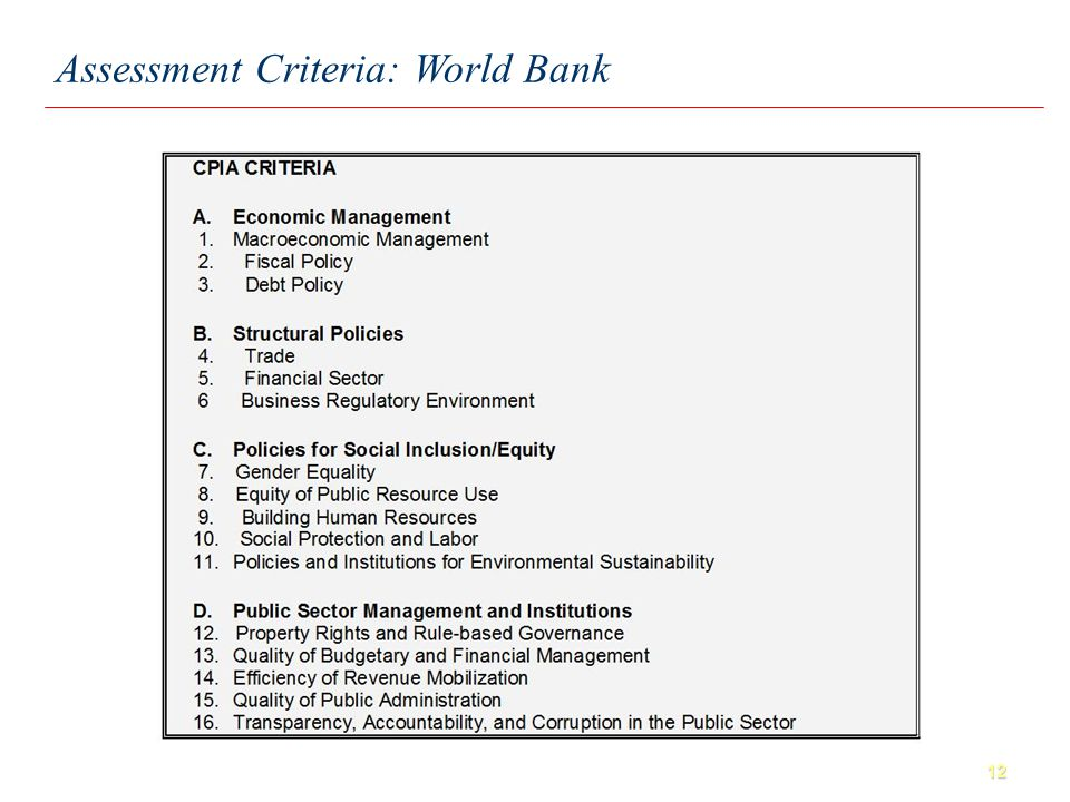 12 Assessment Criteria: World Bank