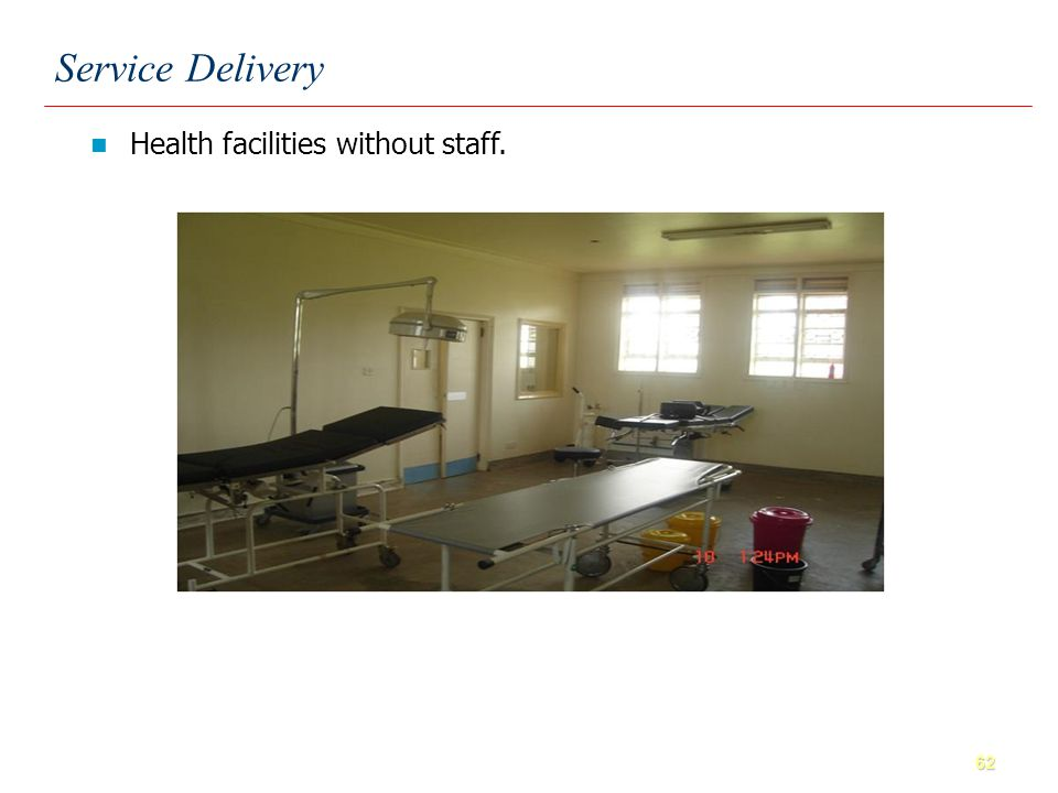 62 Health facilities without staff. Service Delivery