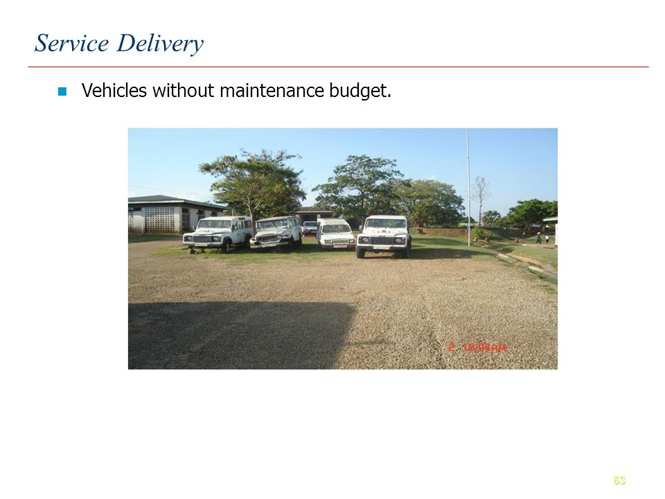 63 Vehicles without maintenance budget. Service Delivery