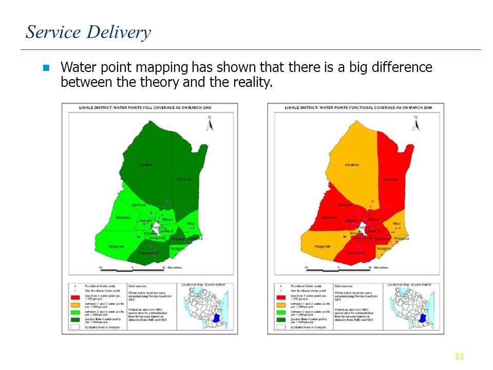 68 Water point mapping has shown that there is a big difference between the theory and the reality.