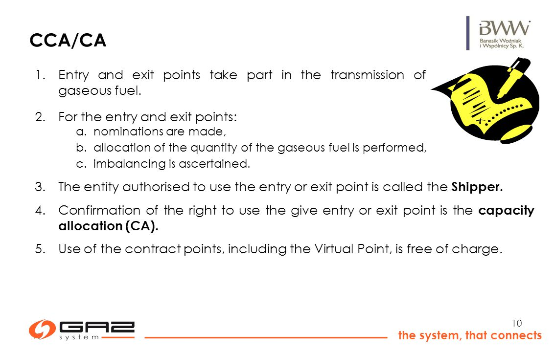 10 the system, that connects 10 CCA/CA 1.Entry and exit points take part in the transmission of gaseous fuel.