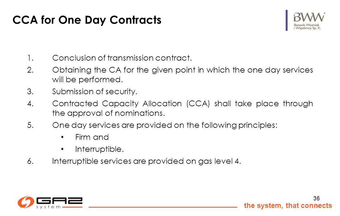 36 the system, that connects 36 CCA for One Day Contracts 1.Conclusion of transmission contract.