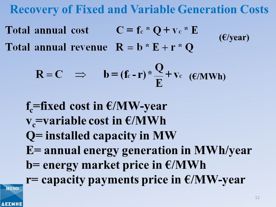 (/year) (/MWh) f c =fixed cost in /MW-year v c =variable cost in /MWh Q= installed capacity in MW E= annual energy generation in MWh/year b= energy ma