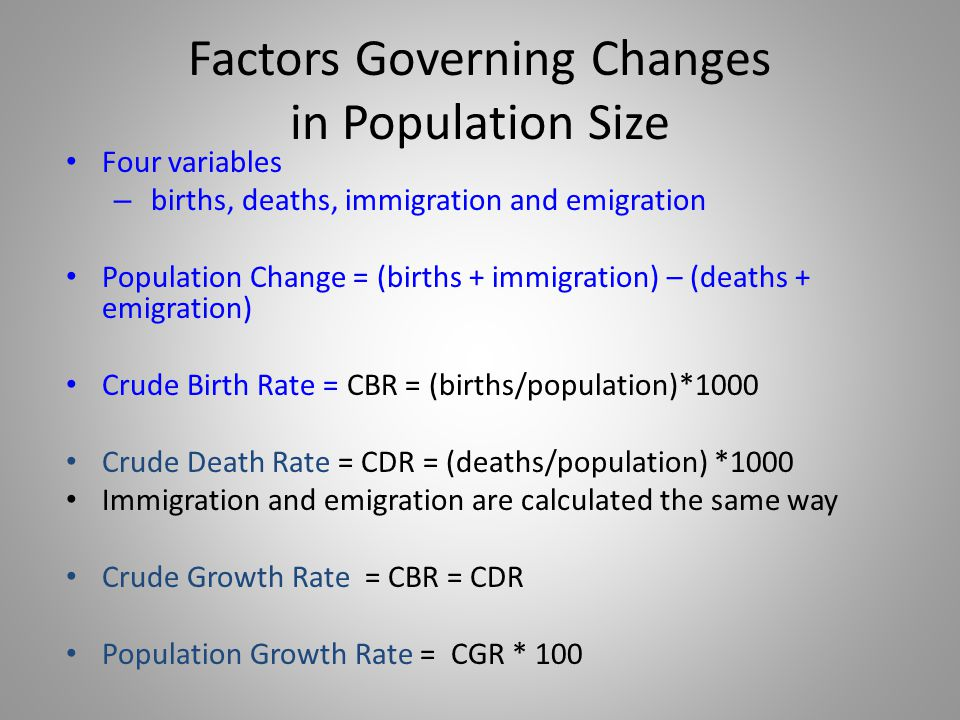 Factors Governing Changes in Population Size Four variables – births, deaths, immigration and emigration Population Change = (births + immigration) –
