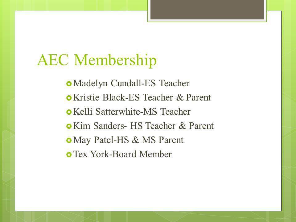 AEC Membership Madelyn Cundall-ES Teacher Kristie Black-ES Teacher & Parent Kelli Satterwhite-MS Teacher Kim Sanders- HS Teacher & Parent May Patel-HS & MS Parent Tex York-Board Member