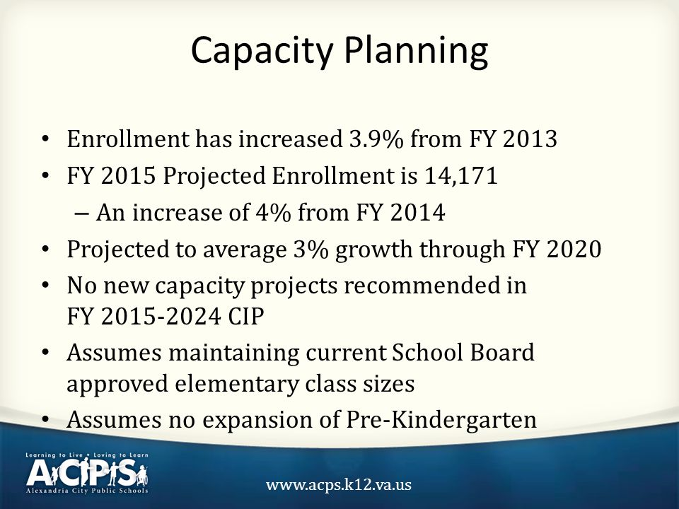 www.acps.k12.va.us Capacity Planning Enrollment has increased 3.9% from FY 2013 FY 2015 Projected Enrollment is 14,171 – An increase of 4% from FY 2014 Projected to average 3% growth through FY 2020 No new capacity projects recommended in FY 2015-2024 CIP Assumes maintaining current School Board approved elementary class sizes Assumes no expansion of Pre-Kindergarten