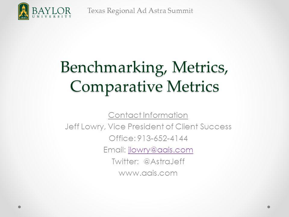 Texas Regional Ad Astra Summit Benchmarking, Metrics, Comparative Metrics Contact Information Jeff Lowry, Vice President of Client Success Office: 913-652-4144 Email: jlowry@aais.comjlowry@aais.com Twitter: @AstraJeff www.aais.com