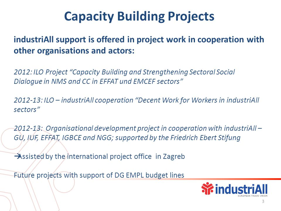 Capacity Building Projects industriAll support is offered in project work in cooperation with other organisations and actors: 2012: ILO Project Capacity Building and Strengthening Sectoral Social Dialogue in NMS and CC in EFFAT und EMCEF sectors : ILO – industriAll cooperation Decent Work for Workers in industriAll sectors : Organisational development project in cooperation with industriAll – GU, IUF, EFFAT, IGBCE and NGG; supported by the Friedrich Ebert Stifung Assisted by the international project office in Zagreb Future projects with support of DG EMPL budget lines 3