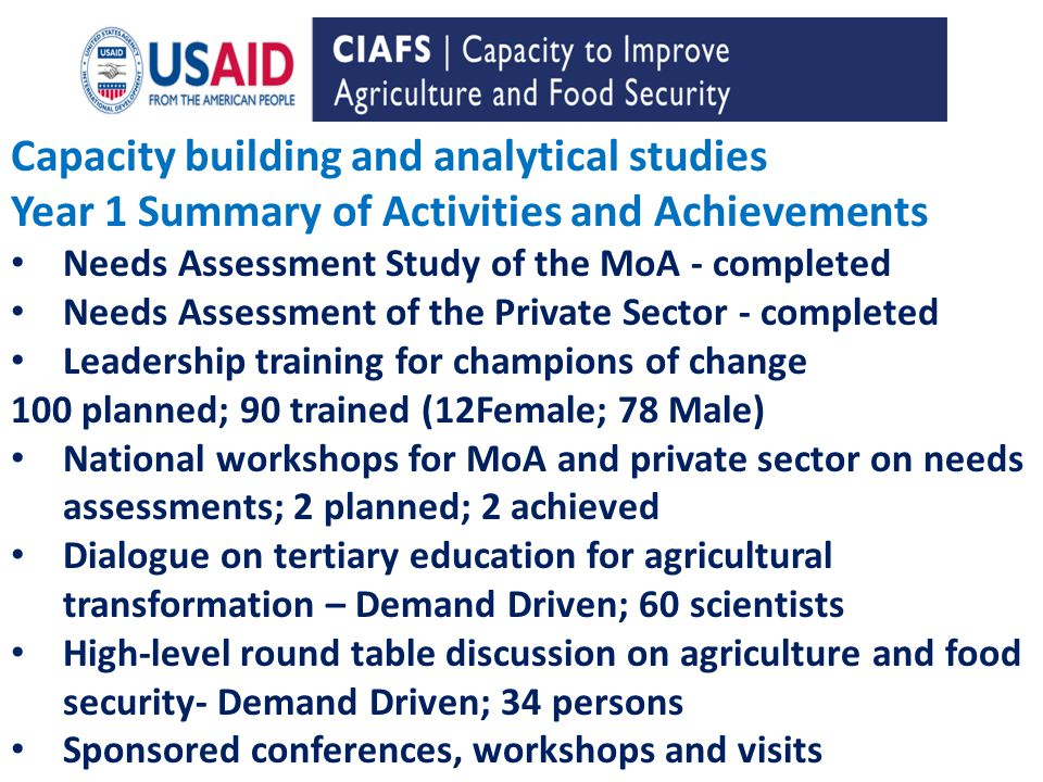 Capacity building and analytical studies Year 1 Summary of Activities and Achievements Needs Assessment Study of the MoA - completed Needs Assessment of the Private Sector - completed Leadership training for champions of change 100 planned; 90 trained (12Female; 78 Male) National workshops for MoA and private sector on needs assessments; 2 planned; 2 achieved Dialogue on tertiary education for agricultural transformation – Demand Driven; 60 scientists High-level round table discussion on agriculture and food security- Demand Driven; 34 persons Sponsored conferences, workshops and visits