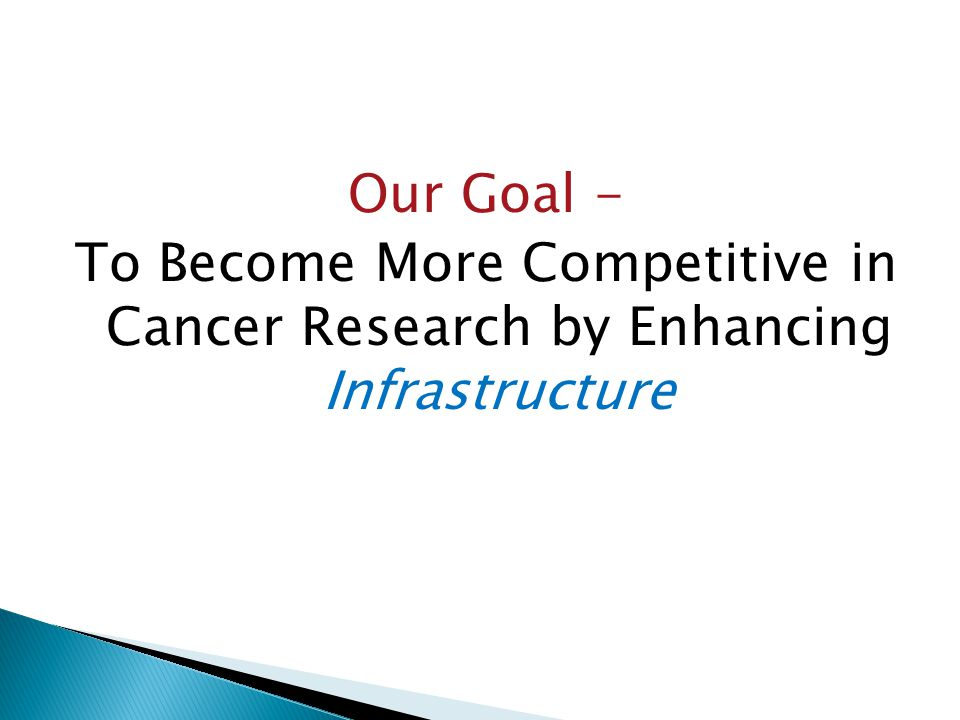 Our Goal - To Become More Competitive in Cancer Research by Enhancing Infrastructure