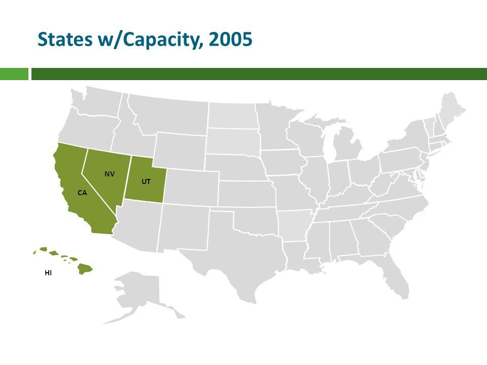 UT NV CA HI States w/Capacity, 2005