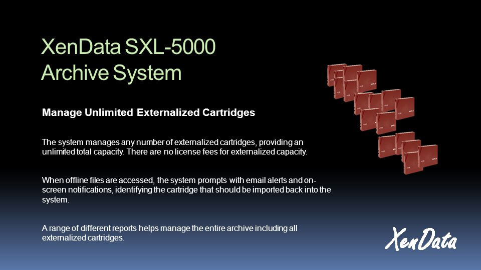 XenData SXL-5000 Archive System Manage Unlimited Externalized Cartridges The system manages any number of externalized cartridges, providing an unlimited total capacity.